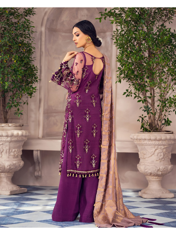 Anahita Net Embroidered 4 Piece Suit AG-02 Alayna by Gulaal Unstitched Luxury Formals
