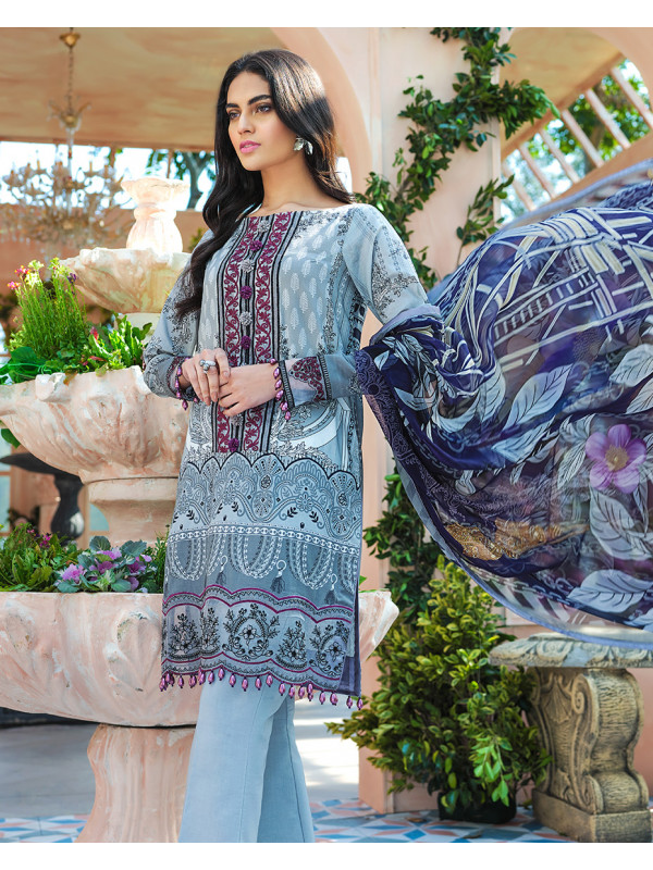 Buena Embroidered Organza 3-Piece Suit GL-12 Cielo By Gulaal Lawn 2020 Volume 1