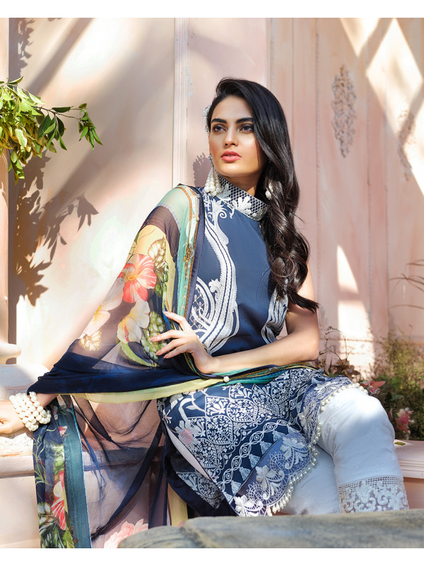 Aguamarina Embroidered Organza 3 Piece Suit GL-02  Cielo By Gulaal Lawn 2020 Volume I