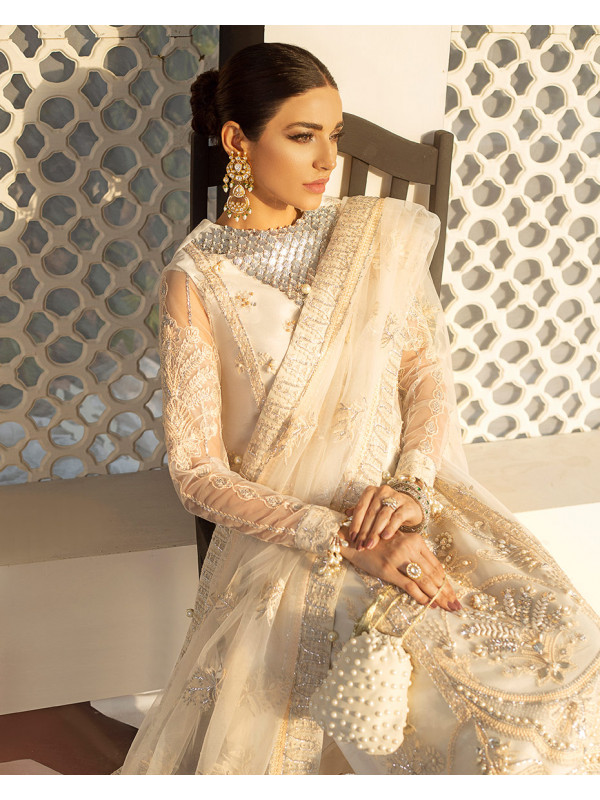 Zuria Embroidered Net 3-Piece Suit D-3 Gulaal Unstitched Luxury Formals Eid Collection