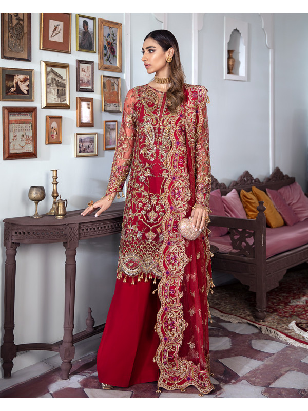 Tamanah Embroidered Net 3-Piece Suit WS-12 - Meherma Wedding Formals Collection