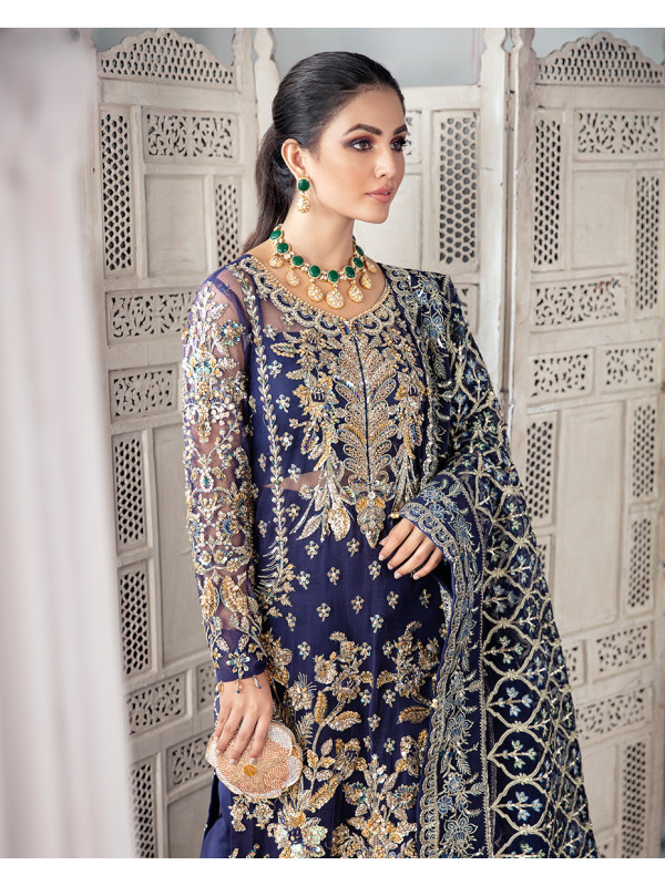 Qayinaat Embroidered Net 3-Piece Suit WS-16 - Meherma Wedding Formals Collection