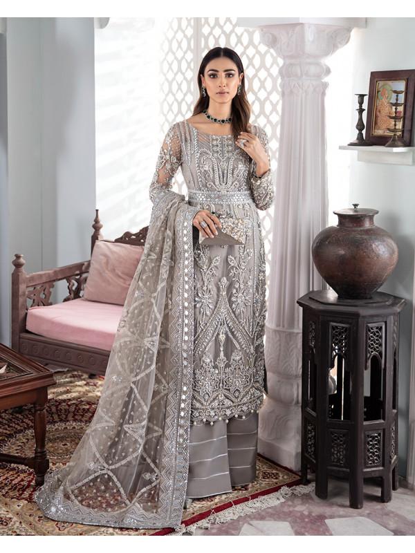 Gulnoor Embroidered Net 3-Piece Suit WS-18 - Meherma Wedding Formals Collection