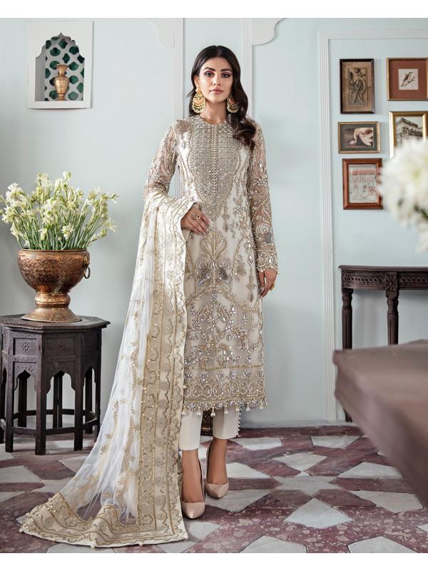 Mehr Embroidered Net 3-Piece Suit WS-19 - Meherma Wedding Formals Collection