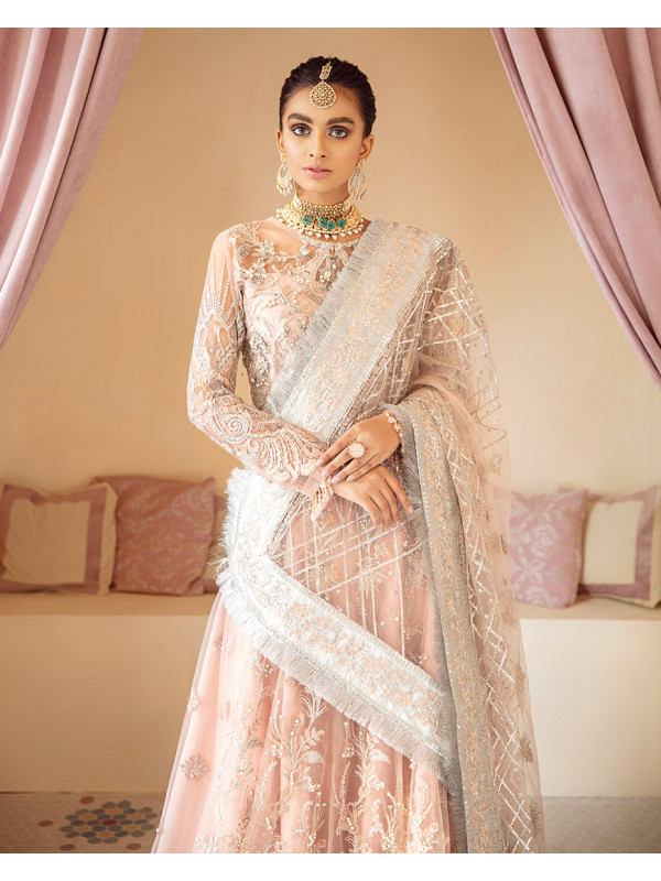 Mahnoosh Embroidered Net 3 Piece suit WD-01 Unstitched Luxury Formals Wedding Collection
