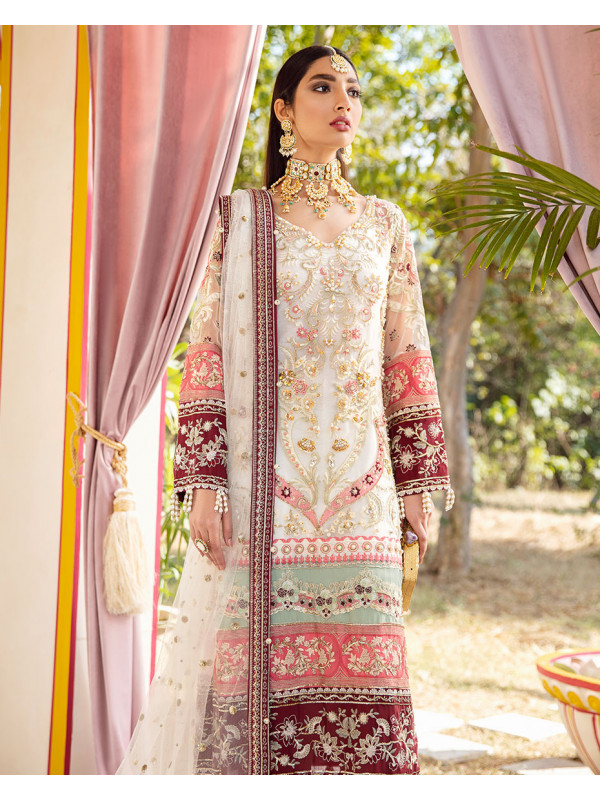 Mehrunnisa Embroidered Net 3 piece suit WD-02 Unstitched Luxury Formals Wedding Collection