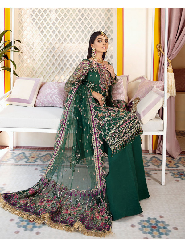 Ghazal Embroidered Net 3 Piece suit WD-03 Unstitched Luxury Formals Wedding Collection
