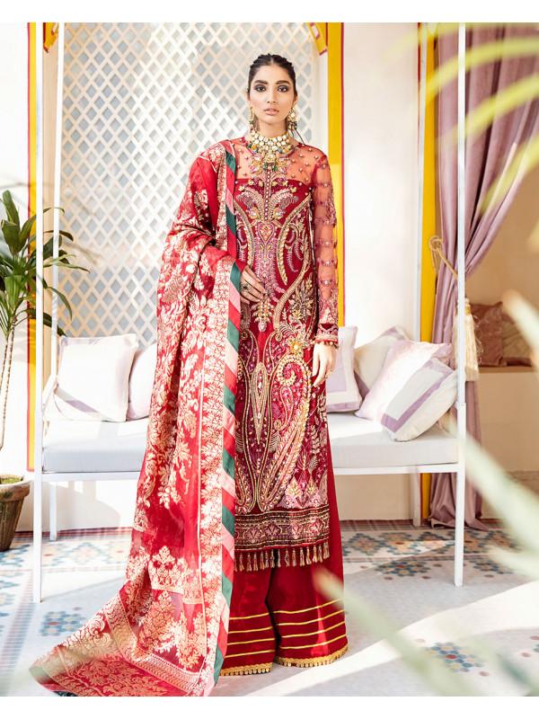 Zeenat Embroidered Net 3 Piece suit WD-06 Unstitched Luxury Formals Wedding Collection