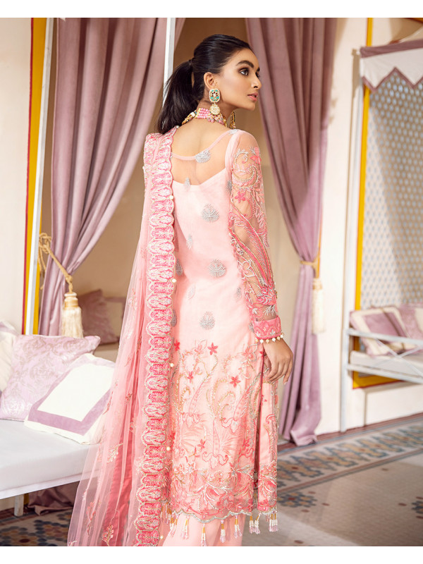 Salima Embroidered Net 3 Piece suit WD-07 Unstitched Luxury Formals Wedding Collection