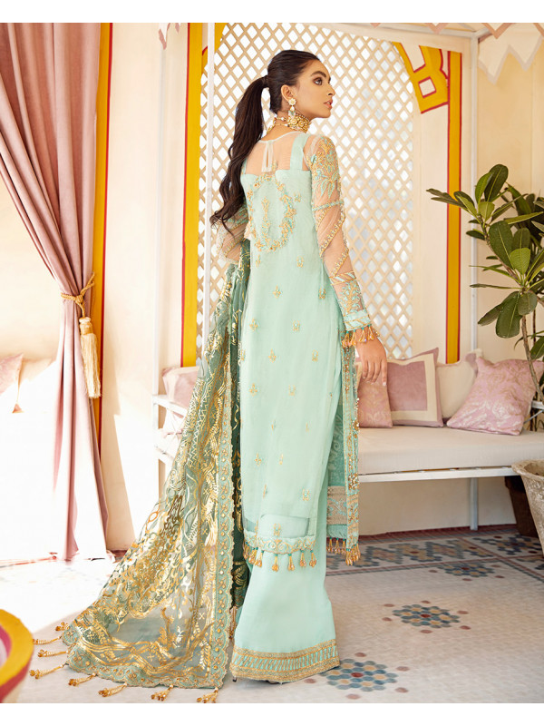 Qudsia Embroidered Net 3 Piece suit WD-08 Unstitched Luxury Formals Wedding Collection